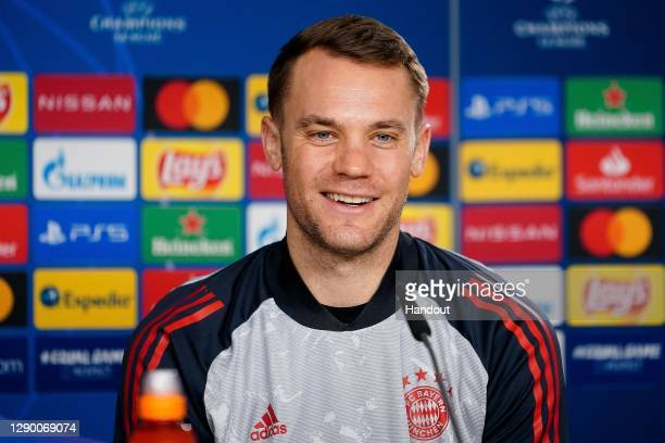 Manuel Neuer of FC Bayern München talks to the media during a virtuelle press conference ahead of the UEFA Champions League Group A stage match...