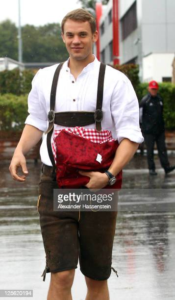 Manuel Neuer of FC Bayern Muenchen arrives for the Paulaner photocall at Bayern Muenchen`s trainings ground Saebener Strasse on September 19, 2011 in...