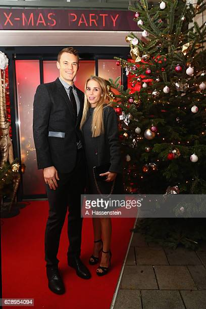 Manuel Neuer of FC Bayern Muenchen attends with Nina Weiss the club's Christmas party at H'ugo's bar on December 10 2016 in Munich Germany