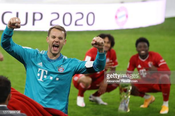 Manuel Neuer of FC Bayern Muenchen celebrates after the Supercup 2020 match between FC Bayern München and Borussia Dortmund at Allianz Arena on...