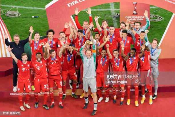 Manuel Neuer of FC Bayern Muenchen lifts the FIFA Club World Cup Qatar 2020 trophy after the finale FIFA Club World Cup Qatar 2020 match between FC...