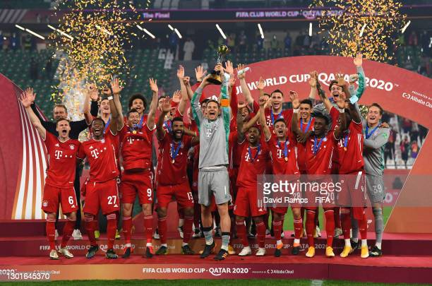 Manuel Neuer of FC Bayern Muenchen lifts the FIFA Club World Cup Qatar 2020 trophy after the FIFA Club World Cup Qatar 2020 Final between FC Bayern...