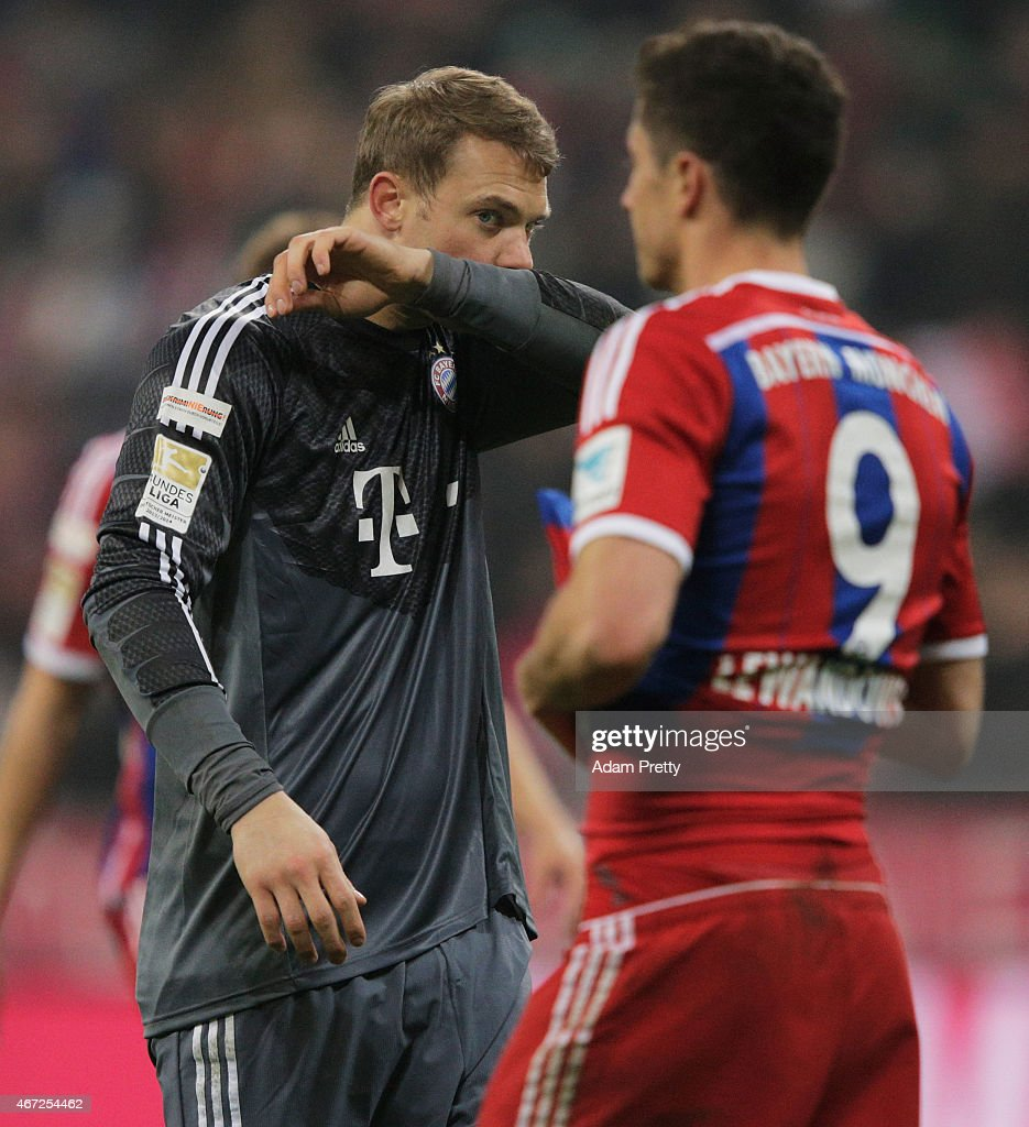 Manuel Neuer of FC Bayern Muenchen looks dejected after the Bundesliga match between Bayern Muenchen and Borussia Moenchengladbach at Allianz Arena on March 22, 2015 in Munich, Germany.