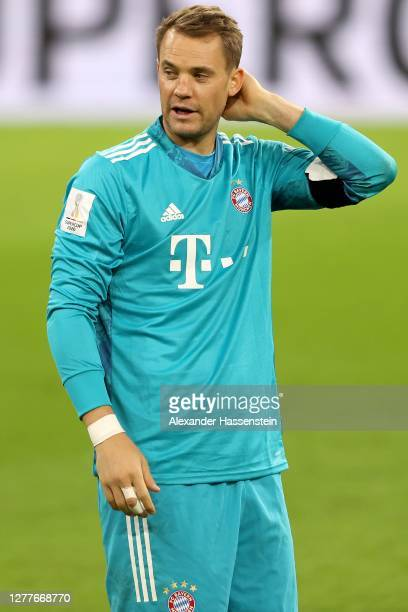 Manuel Neuer of FC Bayern Muenchen looks on after the Supercup 2020 match between FC Bayern München and Borussia Dortmund at Allianz Arena on...