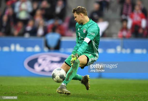 Manuel Neuer of FC Bayern Muenchen makes a save during the Bundesliga match between 1. FC Koeln and FC Bayern Muenchen at RheinEnergieStadion on...