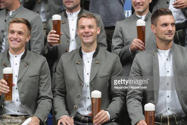 Manuel Neuer of FC Bayern Muenchen with Christian Fruechtl and Sven Ullreich during the FC Bayern Muenchen and Paulaner Photo Session at FGV...