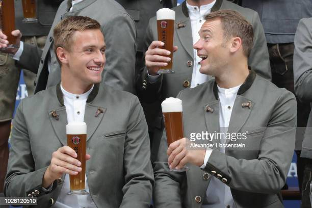Manuel Neuer of FC Bayern Muenchen with Christian Fruechtl during the FC Bayern Muenchen and Paulaner Photo Session at FGV Schmidtle Studios on...