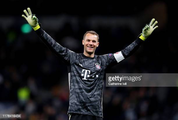 Manuel Neuer of FC Bayern Munich celebrates his team's seventh goal during the UEFA Champions League group B match between Tottenham Hotspur and...