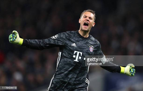 Manuel Neuer of FC Bayern Munich celebrates his team's third goal during the UEFA Champions League group B match between Tottenham Hotspur and Bayern...