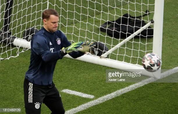 Manuel Neuer of FC Bayern Munich in action before the UEFA Champions League Quarter Final Second Leg match between Paris Saint-Germain and FC Bayern...