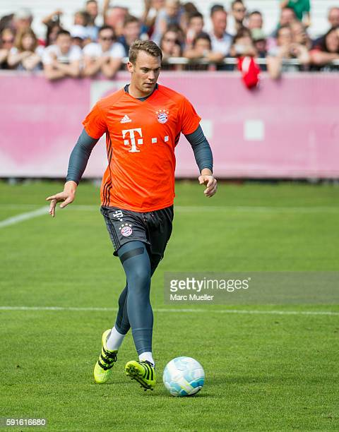 Manuel Neuer of FC Bayern Munich is seen during an training session on August 17 2016 in Munich Germany