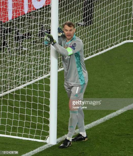 Manuel Neuer of FC Bayern Munich reacts during the UEFA Champions League Quarter Final Second Leg match between Paris Saint-Germain and FC Bayern...