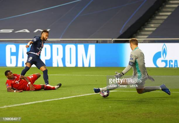 Manuel Neuer of FC Bayern Munich saves from Neymar of Paris SaintGermain during the UEFA Champions League Final match between Paris SaintGermain and...