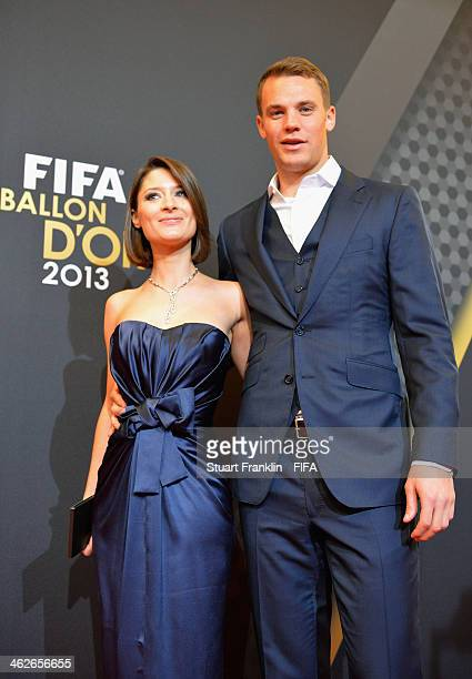 Manuel Neuer of Germany and Bayern Munich and Kathrin Gilch arrive during the FIFA Ballon d'Or Gala 2013 at the Kongresshaus on January 13, 2014 in...