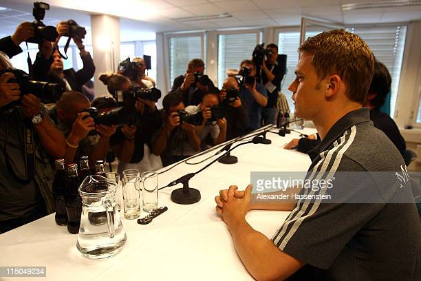 Manuel Neuer of Germany arrives for a press conference ahead of their UEFA EURO 2012 qualifying match against Austria on June 2, 2011 in Vienna,...