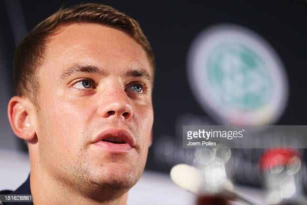 Manuel Neuer of Germany attends a press conference ahead of their FIFA World Cup Brazil 2014 qualifier against Austria on September 9, 2012 in...