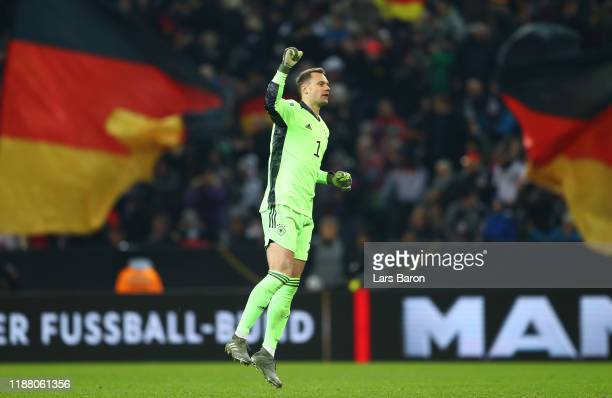 Manuel Neuer of Germany celebrates after his team mate Leon Goretzka of Germany scored his team's second goal during the UEFA Euro 2020 Group C...