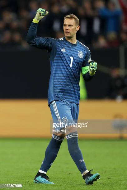 Manuel Neuer of Germany celebrates after his team's second goal during the UEFA Euro 2020 qualifier match between Germany and Netherlands at...