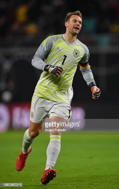Manuel Neuer of Germany celebrates during an International Friendly match between Germany and Russia at Red Bull Arena on November 15, 2018 in...