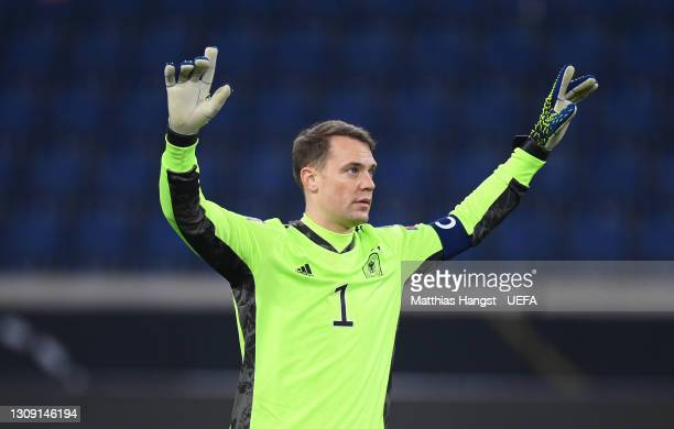 Manuel Neuer of Germany celebrates following the FIFA World Cup 2022 Qatar qualifying match between Germany and Iceland at Schauinsland-Reisen-Arena...