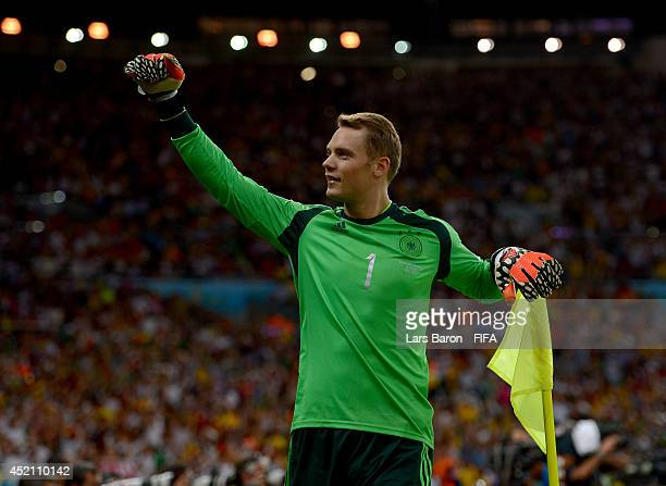 Manuel Neuer of Germany celebrates his team's first goal during the 2014 FIFA World Cup Brazil Final match between Germany and Argentina at Maracana...