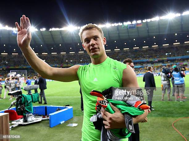 Manuel Neuer of Germany celebrates the 7-1 win while walking off the pitch after the 2014 FIFA World Cup Brazil Semi Final match between Brazil and...
