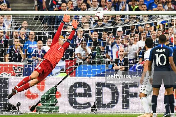 Manuel Neuer of Germany failed to stop the goal of Antoine Griezmann of France during the UEFA Nations League A group one match between France and...