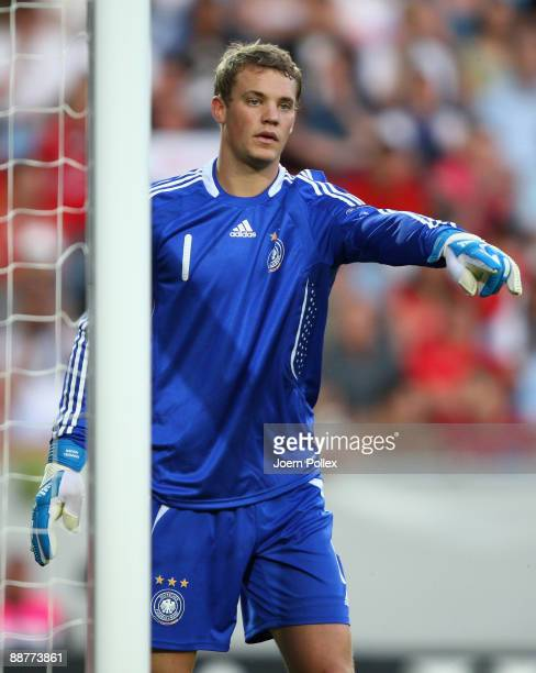 Manuel Neuer of Germany gestures during the UEFA European U21 Championship Final match between England and Germany at New Stadium on June 29 2009 in...