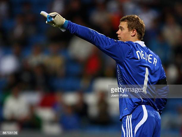 Manuel Neuer of Germany gestures during the UEFA European U21 Championship Semi Final match between Italy and Germany at Olympia stadium on June 26...