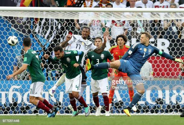 Manuel Neuer of Germany has a back heeled shot during the 2018 FIFA World Cup Russia group F match between Germany and Mexico at Luzhniki Stadium on...