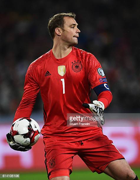 Manuel Neuer of Germany in action during the FIFA 2018 World Cup Qualifier between Germany and Northern Ireland at HDI-Arena on October 11, 2016 in...