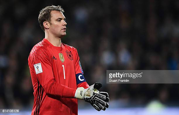 Manuel Neuer of Germany in action during the FIFA 2018 World Cup Qualifier between Germany and Northern Ireland at HDIArena on October 11 2016 in...