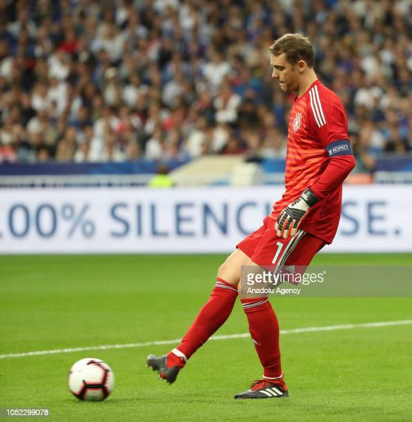 Manuel Neuer of Germany kicks the ball during the UEFA Nations League A Group 1 match between France and Germany at Stade de France in SaintDenis...