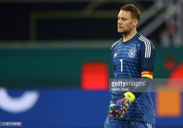 Manuel Neuer of Germany looks dejected after Luka Jovic of Serbia scored their team's first goal during the International Friendly match between...