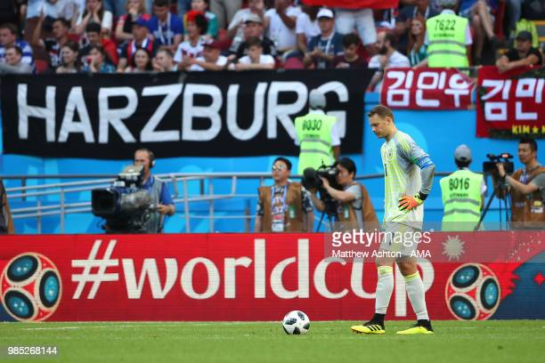 Manuel Neuer of Germany looks dejected during the 2018 FIFA World Cup Russia group F match between Korea Republic and Germany at Kazan Arena on June...