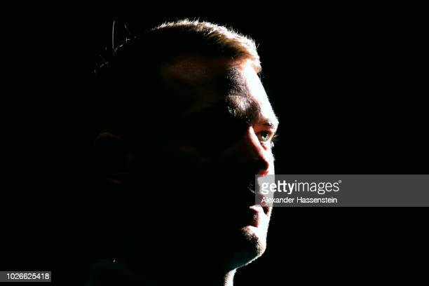 Manuel Neuer of Germany looks on during a team Germany press conference at Hilton Munich Park Hotel on September 4 2018 in Munich Germany