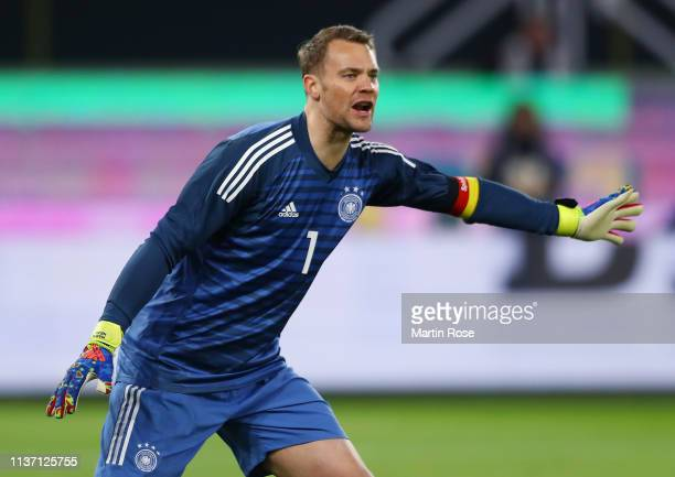 Manuel Neuer of Germany looks on during the International Friendly match between Germany and Serbia at Volkswagen Arena on March 20 2019 in Wolfsburg...