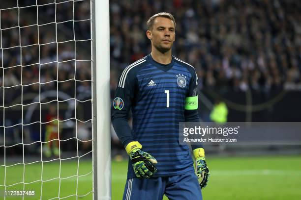 Manuel Neuer of Germany looks on during the UEFA Euro 2020 qualifier match between Germany and Netherlands at Volksparkstadion on September 06 2019...