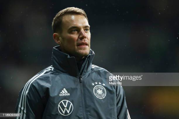 Manuel Neuer of Germany looks on prior to the UEFA Euro 2020 Qualifier between Germany and Northern Ireland at Commerzbank Arena on November 19, 2019...