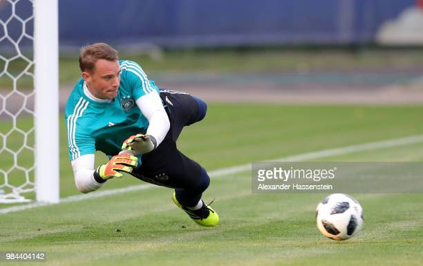 Manuel Neuer of Germany makes a save during a Germany training session at Electron Stadium on June 26 2018 in Kazan Russia