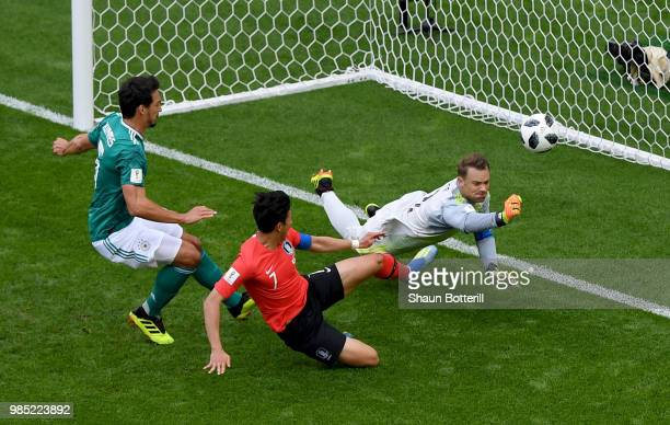 Manuel Neuer of Germany makes a save during the 2018 FIFA World Cup Russia group F match between Korea Republic and Germany at Kazan Arena on June 27...