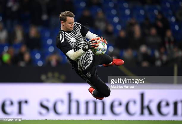Manuel Neuer of Germany makes a save in the warm up prior to the UEFA Nations League A group one match between Germany and Netherlands at...