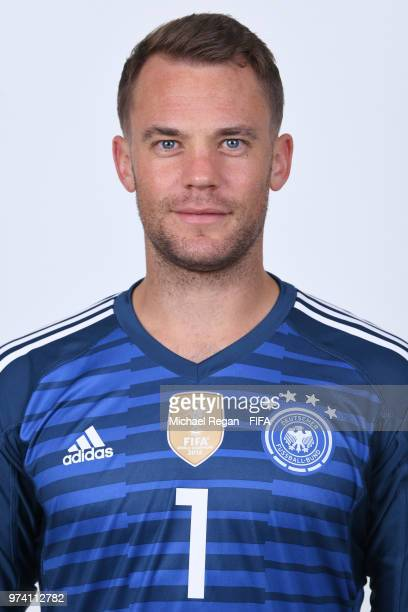 Manuel Neuer of Germany pose for a photo during the official FIFA World Cup 2018 portrait session on June 13 2018 in Moscow Russia