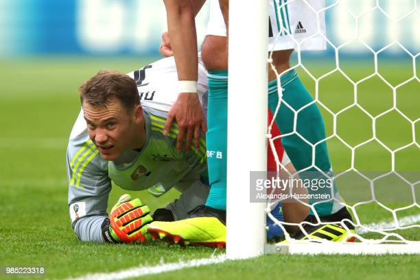 Manuel Neuer of Germany reacts after making a save during the 2018 FIFA World Cup Russia group F match between Korea Republic and Germany at Kazan...
