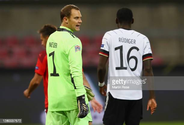 Manuel Neuer of Germany reacts after the first goal during the UEFA Nations League group stage match between Germany and Switzerland at...