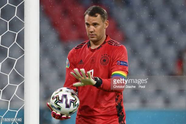 Manuel Neuer of Germany reacts as he wears a rainbow armband during the UEFA Euro 2020 Championship Group F match between Germany and Hungary at...