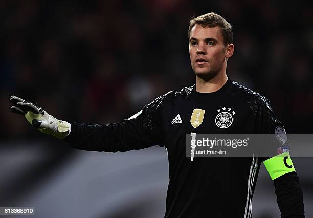 Manuel Neuer of Germany reacts during the 2018 FIFA World Cup Qualifier match between Germany and Czech Republic at Volksparkstadion on October 8...