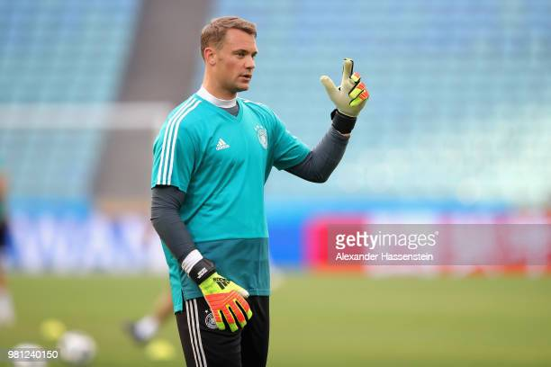 Manuel Neuer of Germany reacts during the Germany Training Press Conference at Fisht Stadium on June 22 2018 in Sochi Russia