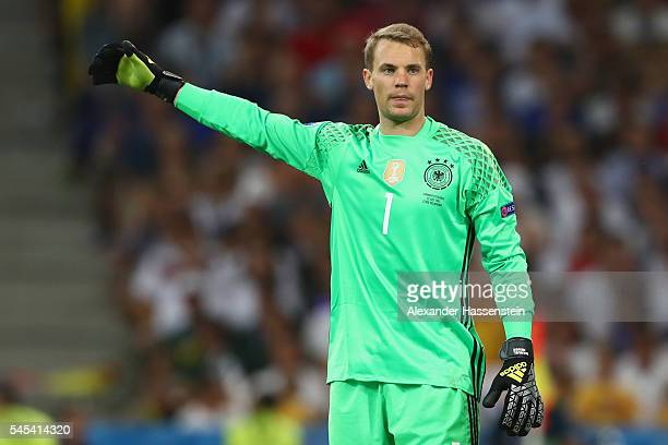 Manuel Neuer of Germany reacts during the UEFA EURO 2016 semi final match between Germany and France at Stade Velodrome on July 7 2016 in Marseille...