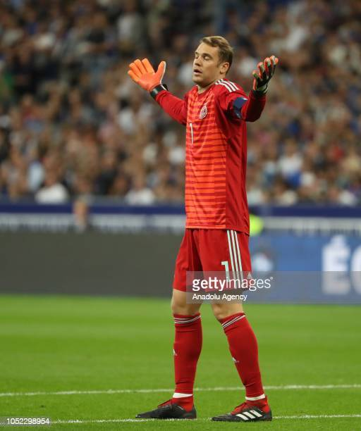 Manuel Neuer of Germany reacts during the UEFA Nations League A Group 1 match between France and Germany at Stade de France in SaintDenis north of...